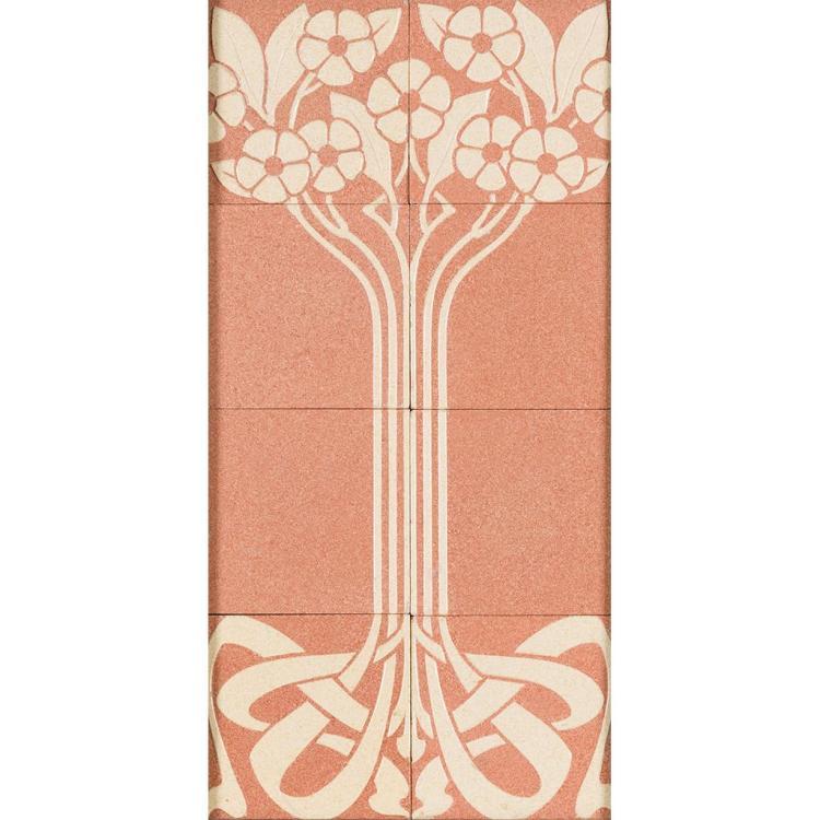 VILLEROY & BOCH ART NOUVEAU TILE PANEL, CIRCA 1900 58cm x 28.5cm