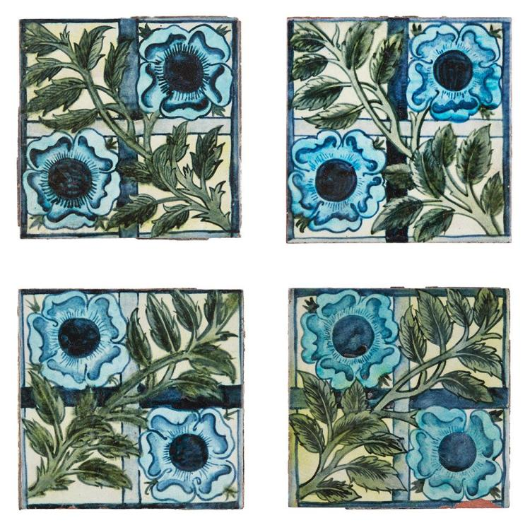 WILLIAM DE MORGAN (1839-1917) SET OF FOUR 'ROSE AND TRELLIS' PATTERN TILES, CIRCA 1872 15cm square