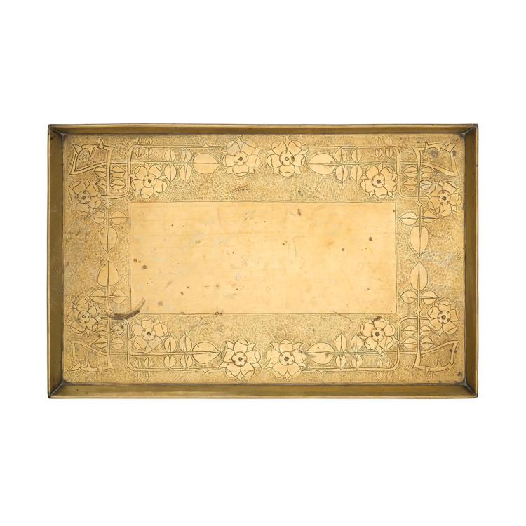GLASGOW SCHOOL BRASS SERVING TRAY, CIRCA 1900 57cm x 36.5cm