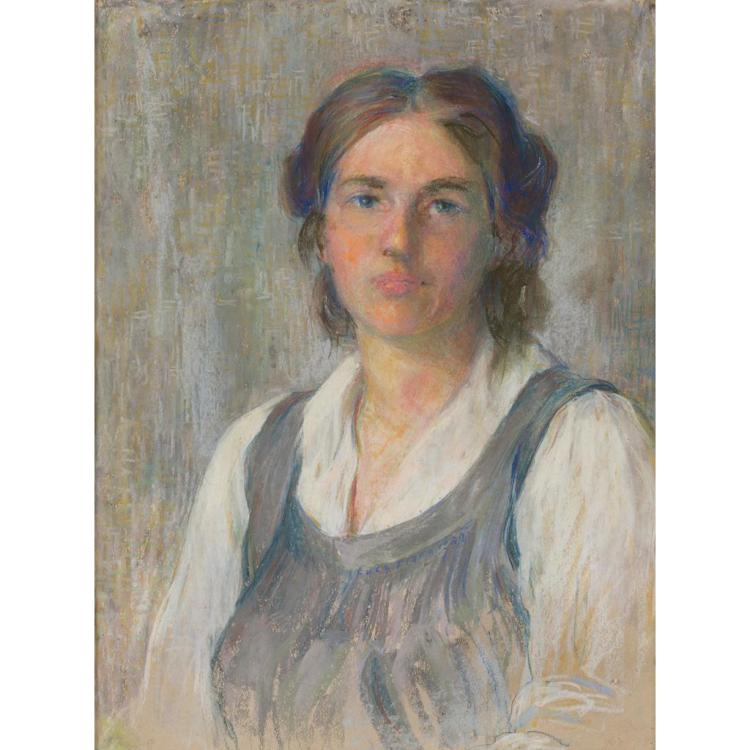 20TH CENTURY BRITISH SCHOOL PORTRAIT OF A YOUNG WOMAN 61.5cm x 46.5cm (24.25in x 18.25in)