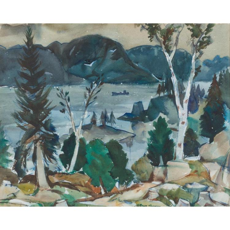 ADAM BRUCE THOMSON O.B.E., R.S.A., R.S.W. (SCOTTISH 1885-1976) APPLECROSS FROM DUNCRAIG 49cm x 61.5cm (19in x 24.25in)