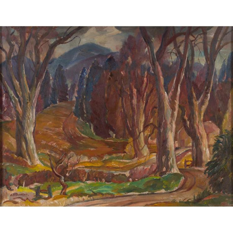 ADAM BRUCE THOMSON O.B.E., R.S.A., R.S.W. (SCOTTISH 1885-1976) UPPER NITHSDALE 70cm x 91cm (27.75in x 35.75in)