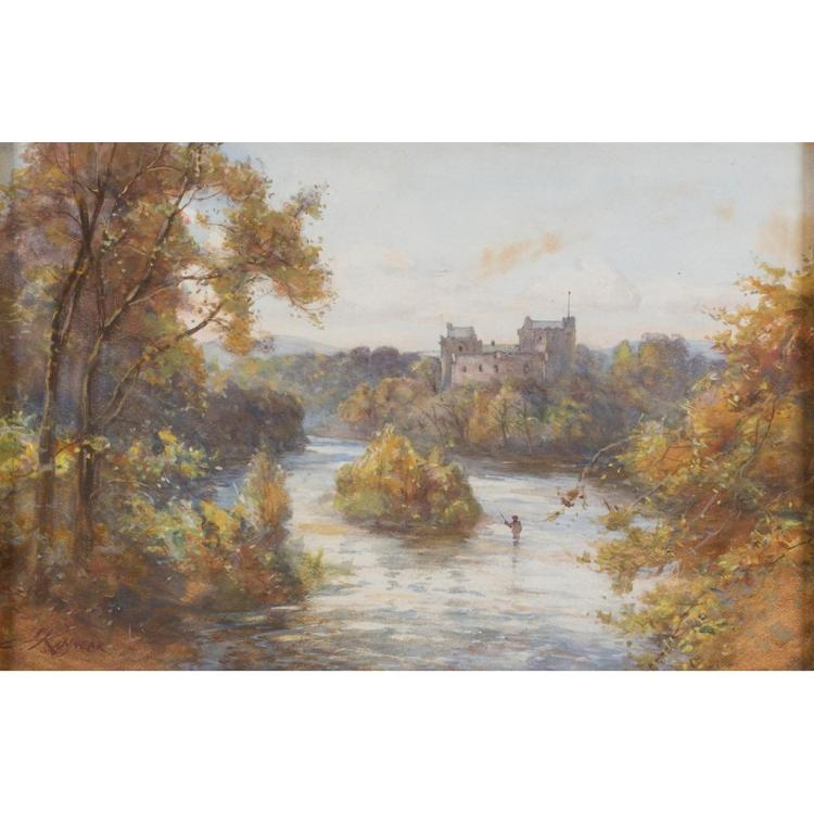 JAMES SCOTT KINNEAR (SCOTTISH 1846-1917) DOUNE CASTLE 29cm x 44cm (11.5in x 17.5in) and a further watercolour by the same hand (2)