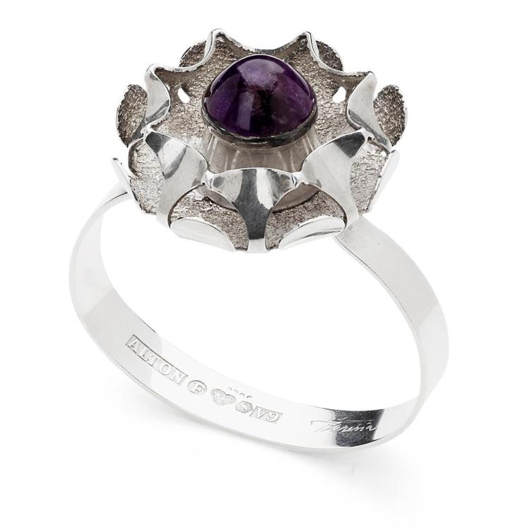 THERESIA HVORSLEV (B. 1935) FOR ALTON STERLING SILVER AND AMETHYST SET BRACELET, CIRCA 1970 7.5cm across