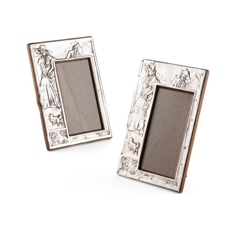 ART NOUVEAU MATCHED PAIR OF SILVER PHOTOGRAPH FRAMES, CIRCA 1905 26cm x 18.5cm