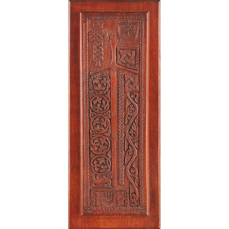 ALEXANDER RITCHIE (1856-1941), IONA CELTIC REVIVAL CARVED OAK PANEL, DATED 1905 carved panel 40.7cm x 15cm (widest)