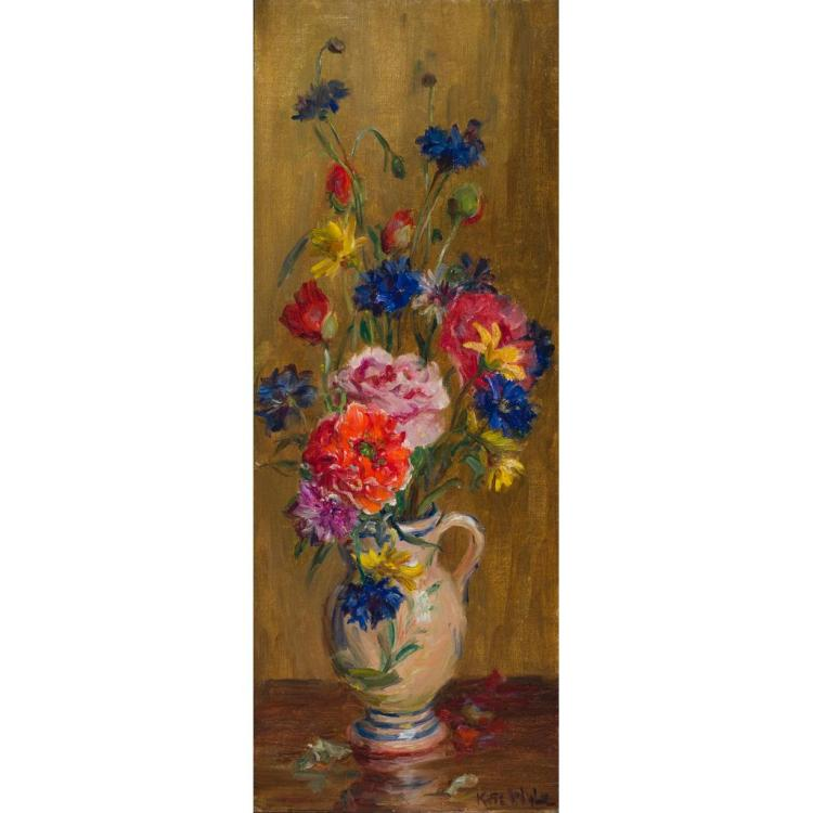 KATE WYLIE (SCOTTISH 1877-1941) STILL-LIFE OF FLOWERS IN A JUG 54cm x 20.5cm (21.25in x 8in)