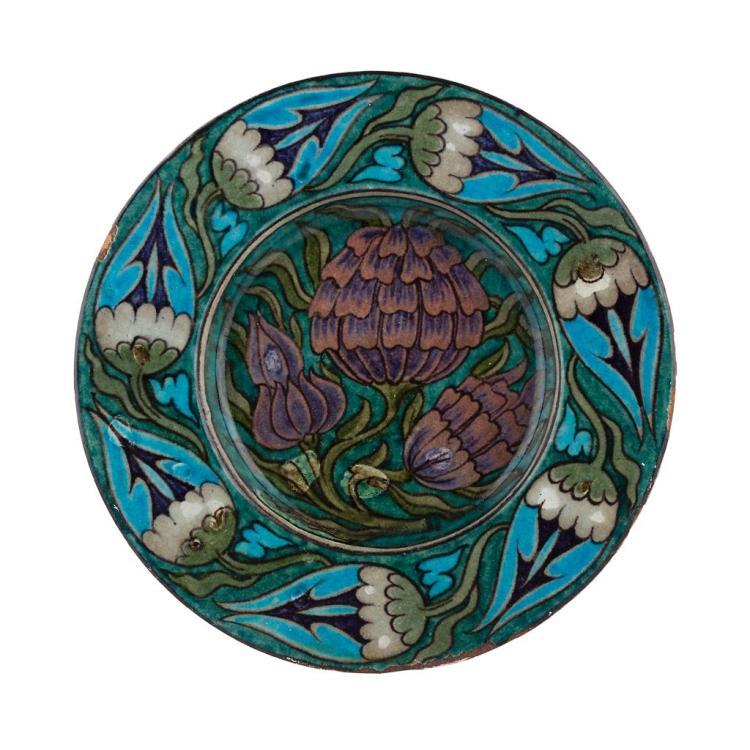 WILLIAM DE MORGAN (1839-1917) PERSIAN STYLE CIRCULAR DISH, CIRCA 1885 20cm diameter