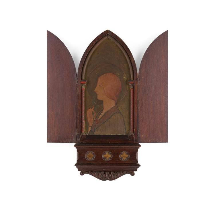 GOTHIC REVIVAL OAK FRAMED ALTARPIECE, CIRCA 1900 54cm x 23.5cm (closed)