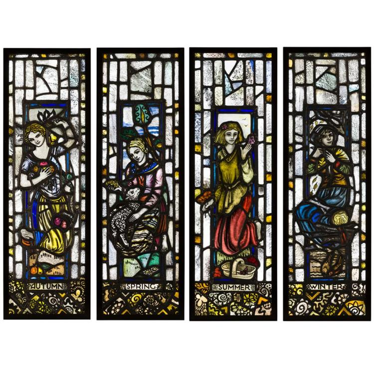 ATTRIBUTED TO MARGARET CHILTON (1875-1962) SET OF THREE STAINED GLASS PANELS, EARLY 20TH CENTURY