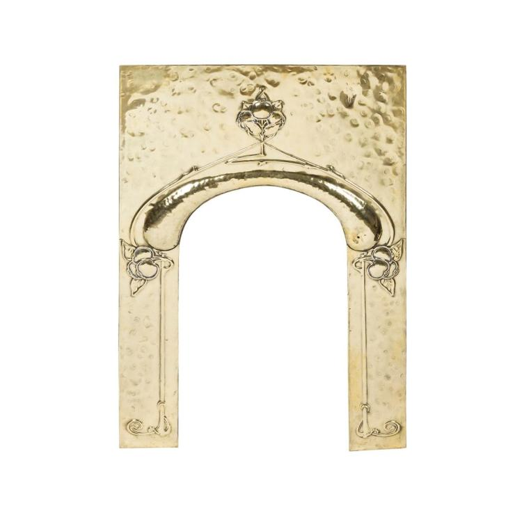ARTS & CRAFTS BRASS FIREPLACE SURROUND, CIRCA 1900