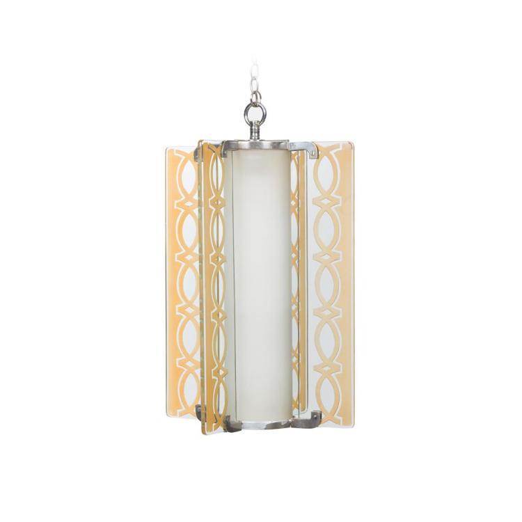 ART DECO HANGING GLASS HALL LANTERN, CIRCA 1930 31.5cm across, 48cm high