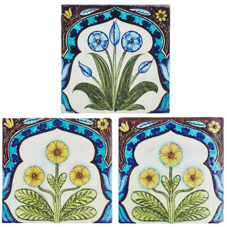 WILLIAM DE MORGAN (1839-1917) THREE RARE P&O LINER 'ARABIA COMPANION FRIEZE' TILES, CIRCA 1897 each tile 23cm square