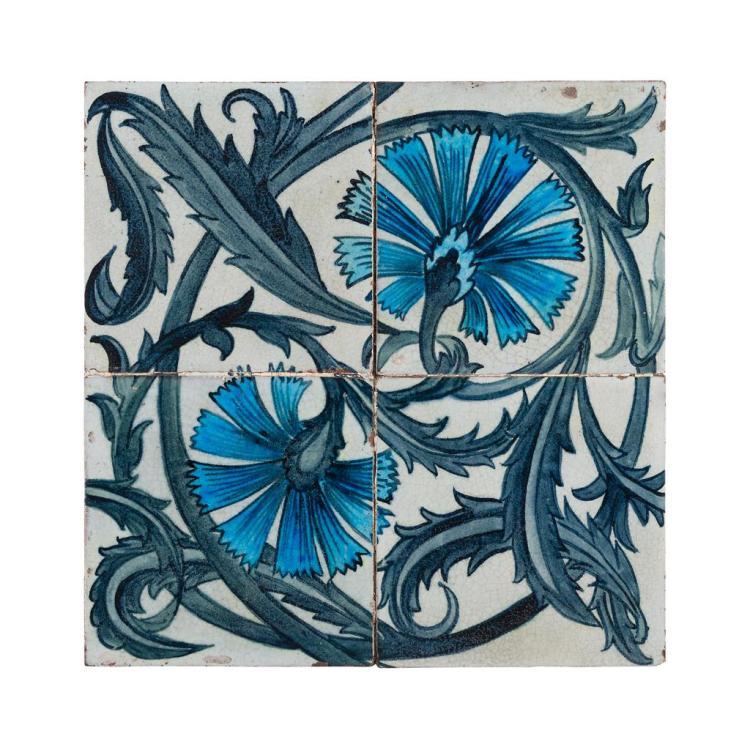 WILLIAM DE MORGAN (1839-1917) FOUR RARE 'FOUR TILE CARNATION' TILES, CIRCA 1880 each tile 15.5cm square