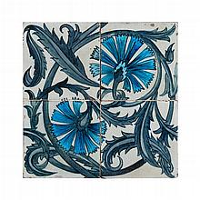 WILLIAM DE MORGAN (1839-1917) FOUR RARE 'FOUR TILE CARNATION' TILES, CIRCA 1880 each tile 15.5cm square
