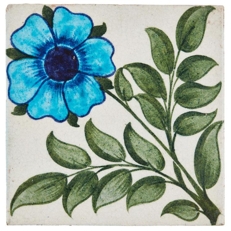 WILLIAM DE MORGAN (1839-1917) 'SINGLE ROSE' TILE, CIRCA 1885 15.8cm square