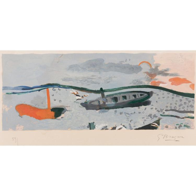 § GEORGES BRAQUE (FRENCH 1882-1963) BOATS 31cm x 60.5cm (12.25in x 23.75in)