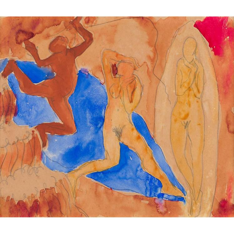 20TH CENTURY EUROPEAN SCHOOL THE DANCE 20cm x 25.5cm (8in x 10in) and a further two figurative studies on paper, all unframed (3)