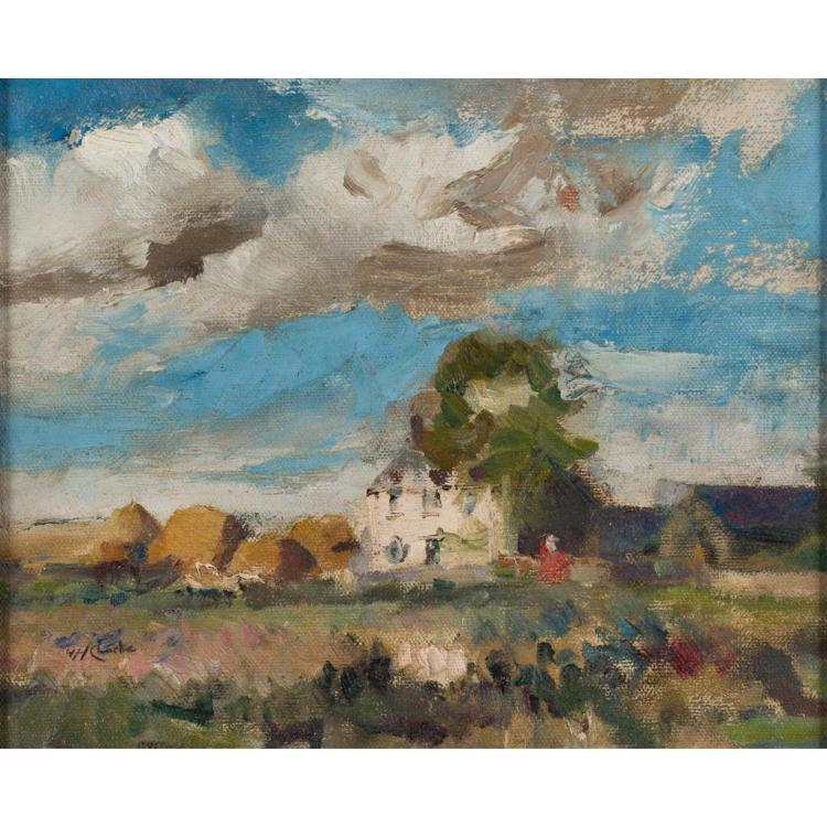 WILLIAM HANNA CLARKE (SCOTTISH 1882-1924) PASSING CLOUDS 30cm x 36.5cm (11.75in x 14.5in)
