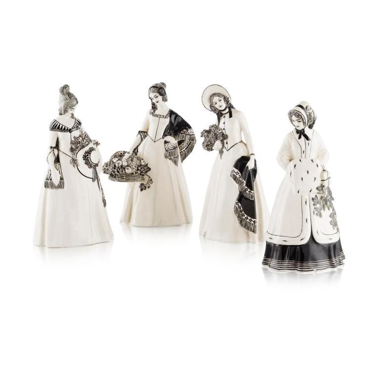 JOHANNA MEIER-MICHEL FOR WIENER KUNSTKERAMISCHE WERKSTÄTTE GROUP OF FOUR 'FOUR SEASONS' FIGURES, CIRCA 1910 24cm and 25cm high