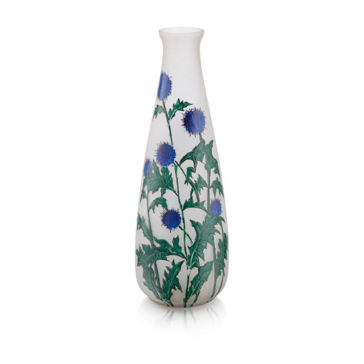 LEUNE, PARIS FROSTED AND ENAMELLED GLASS VASE, 1930S 51cm high