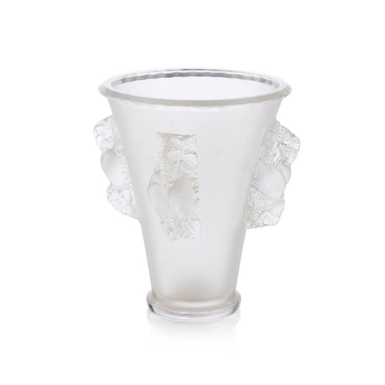 POST WAR LALIQUE 'SAINT-EMILION' CLEAR AND FROSTED GLASS VASE, DESIGNED 1942 25.5cm high