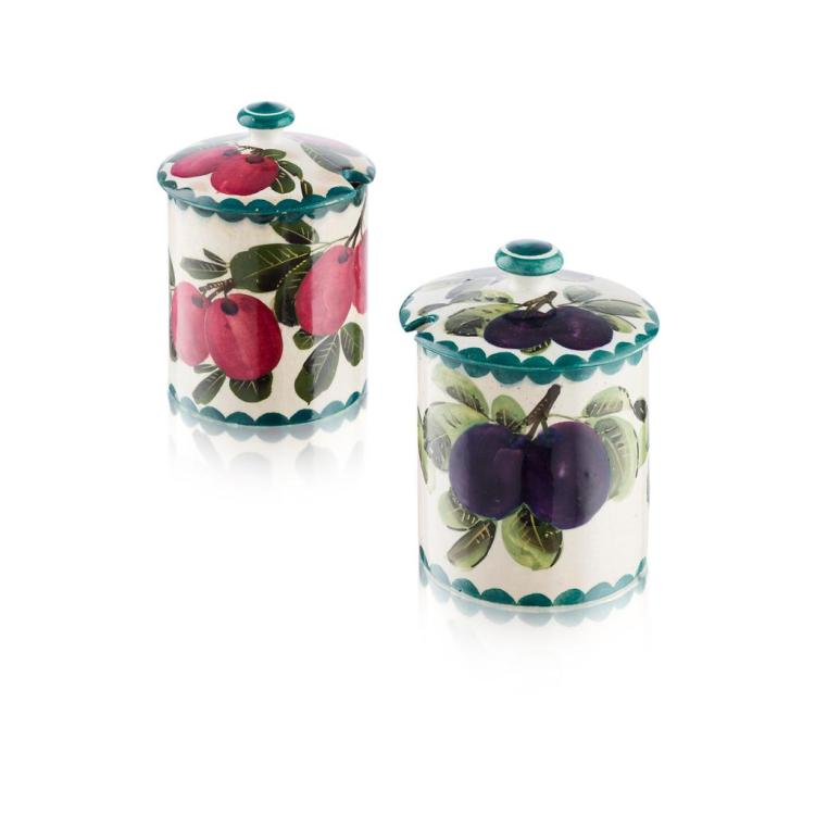 WEMYSS WARE 'PURPLE AND RED PLUMS', TWO PRESERVE JARS & COVERS, CIRCA 1900 12.5cm high