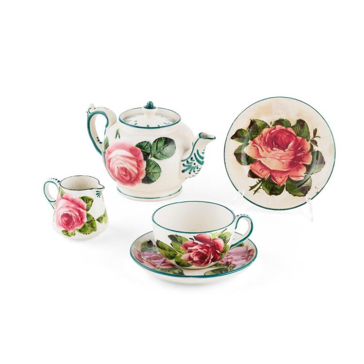 WEMYSS WARE ASSEMBLED 'CABBAGE ROSES' BREAKFAST SET, CIRCA 1900