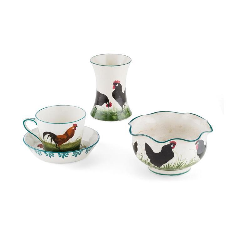 WEMYSS WARE 'BROWN COCKEREL' TEA CUP & SAUCER, EARLY 20TH CENTURY