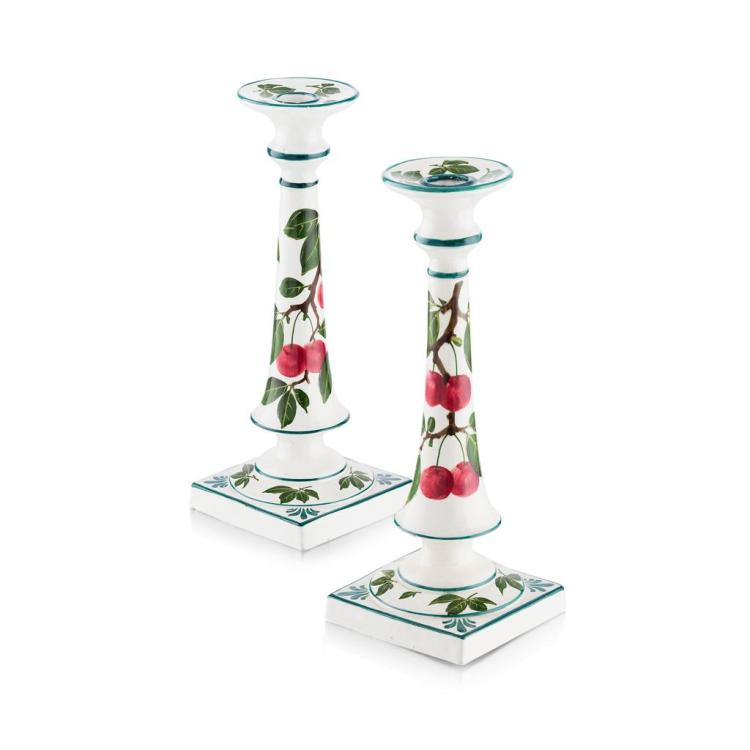 WEMYSS WARE MATCHED PAIR OF 'CHERRIES' TALL CANDLESTICKS, CIRCA 1900 30.5cm and 29.5cm high