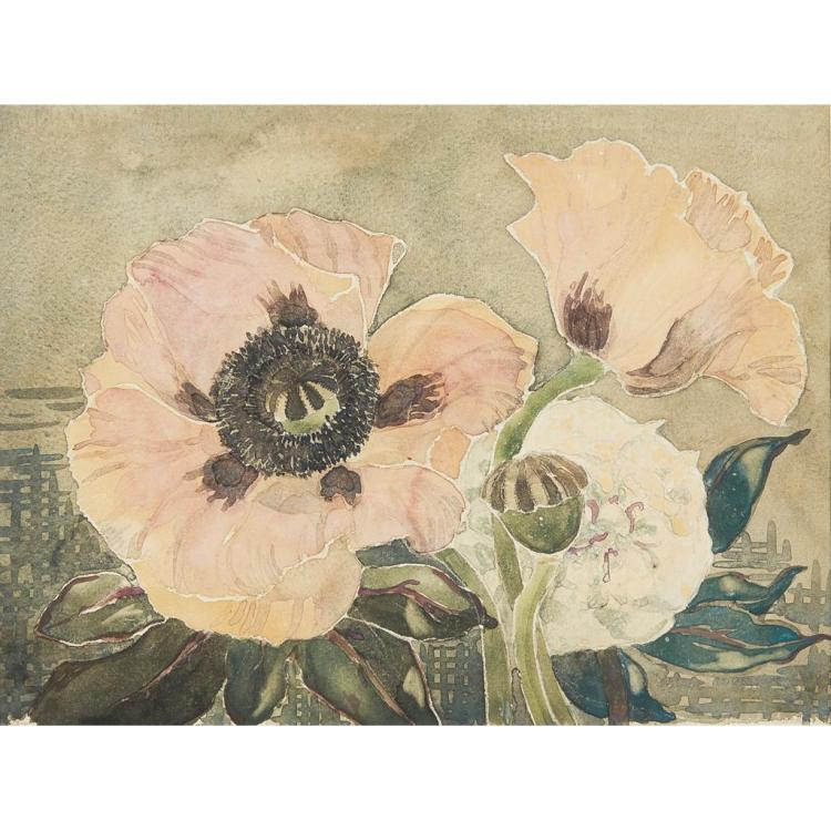 MARY NEWBERY STURROCK (1890-1985) POPPIES 28cm x 38cm
