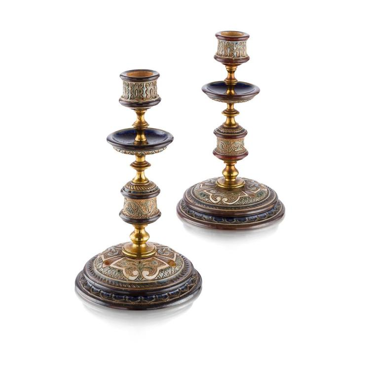 FLORENCE BARLOW FOR DOULTON, LAMBETH PAIR OF STONEWARE AND BRASS-MOUNTED CANDLESTICKS, CIRCA 1880 20.5cm high