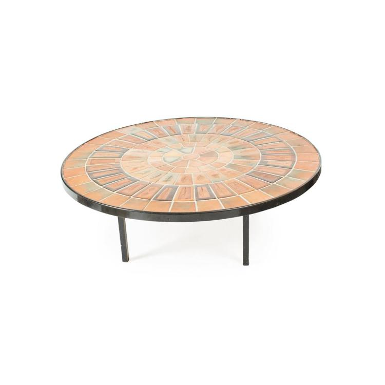 ROGER CAPRON (1922-2006) TILED COFFEE TABLE CIRCA 1950 91cm diameter, 30cm high