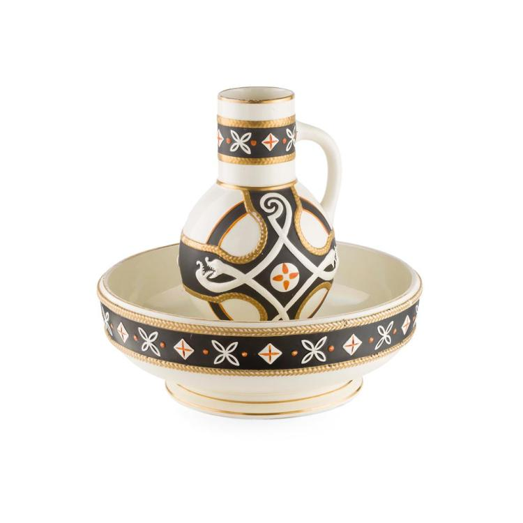 POWELL, BISHOP & STONIER CELTIC REVIVAL EWER & BASIN, CIRCA 1880 basin 39cm diameter, 34cm high