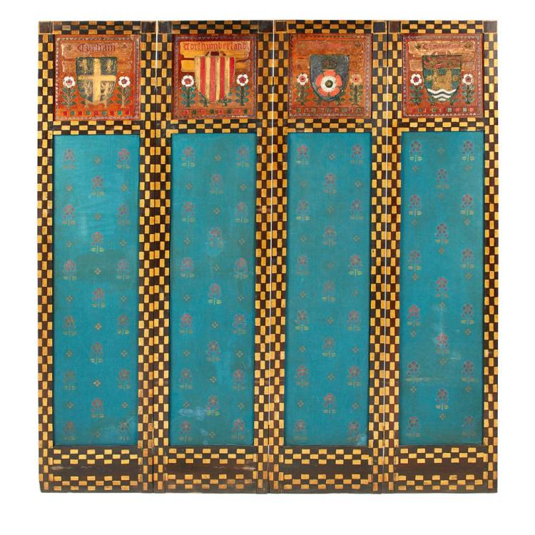 ARTS & CRAFTS FOUR FOLD DRAUGHT SCREEN, CIRCA 1900 each fold 152.5cm x 37.5cm