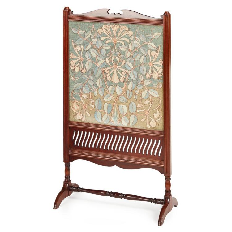 MORRIS & CO. ARTS & CRAFTS MAHOGANY FRAMED FIRESCREEN, CIRCA 1890 58cm wide, 104cm high, 30cm deep
