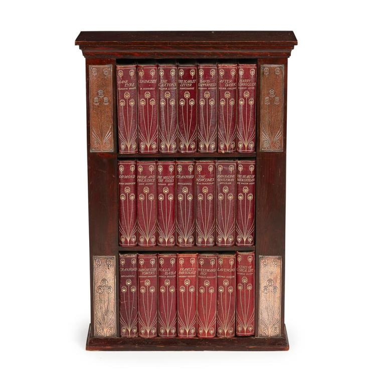 TALWIN MORRIS (1865-1911) GLASGOW STYLE ART NOUVEAU BOOKCASE WITH BOOKS, CIRCA 1900 50cm wide, 74cm high, 18cm deep