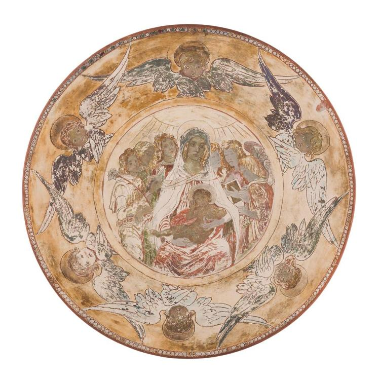 HAROLD RATHBONE (1858-1929) FOR DELLA ROBBIA POTTERY, BIRKENHEAD LARGE CIRCULAR CHARGER, DATED 1902 50cm wide