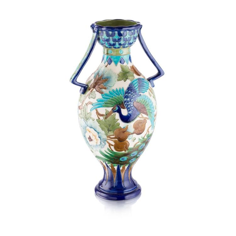 BURMANTOFTS FAIENCE LARGE TWIN-HANDLED VASE, CIRCA 1900 52cm high