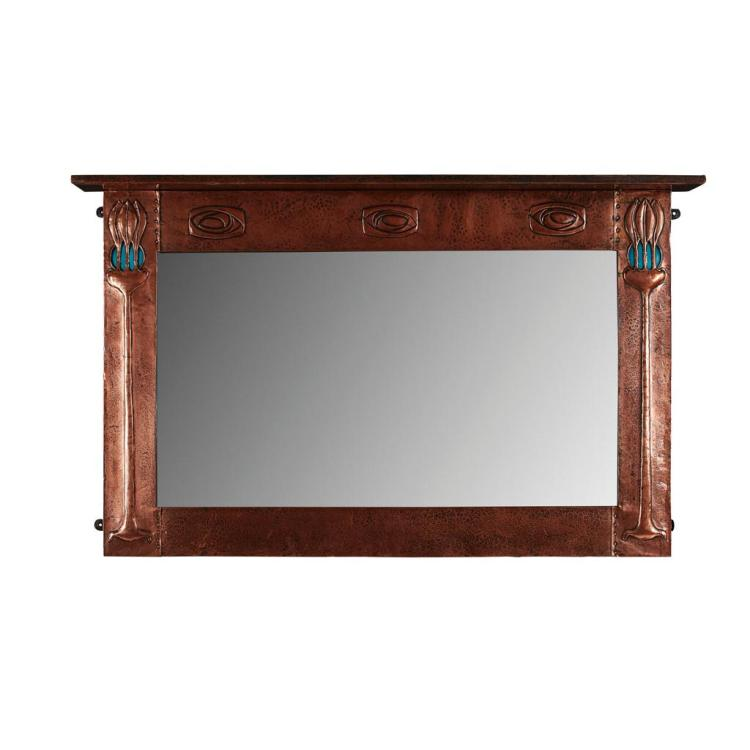LIBERTY & CO., LONDON ARTS & CRAFTS COPPER OVERMANTLE MIRROR, CIRCA 1900 123cm x 77cm x 12cm