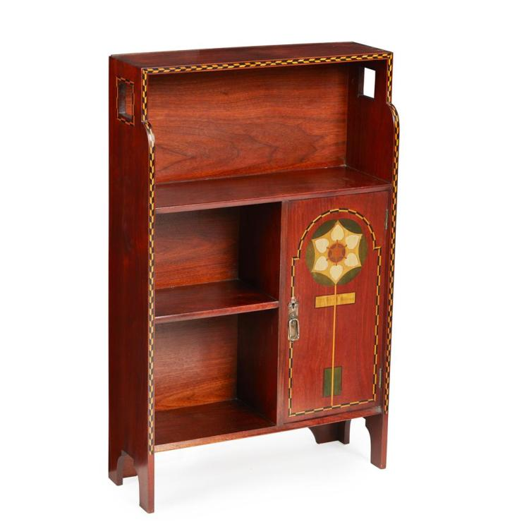 MANNER OF M. H. BAILLIE SCOTT FOR SHAPLAND & PETTER, BARNSTAPLE INLAID ARTS & CRAFTS MAHOGANY BOOKCASE CABINET, CIRCA 1900 51cm wide...