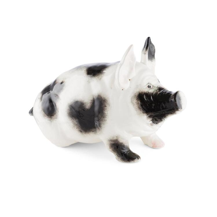 WEMYSS WARE LARGE BLACK & WHITE PIG, LATE 19TH CENTURY 28cm high, 46cm long