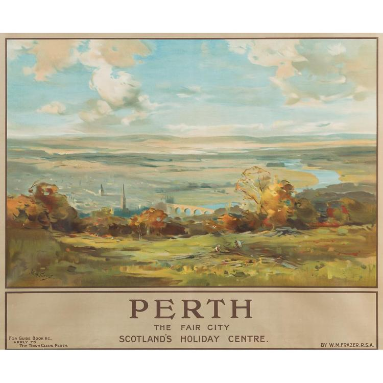 LONDON MIDLAND & SCOTTISH LMS POSTER 'PERTH THE FAIR CITY - SCOTLAND'S HOLIDAY CENTRE' 102cm x 127cm