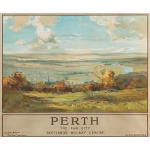LONDON MIDLAND & SCOTTISH LMS POSTER 'PERTH THE FAIR CITY - SCOTLAND'S HOLIDAY CENTRE' 102cm x 127cm