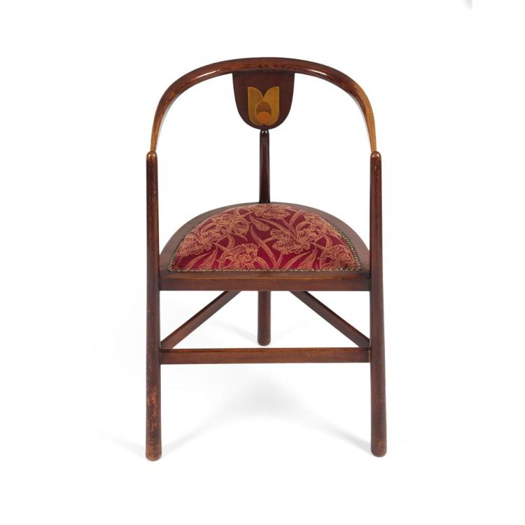 ART NOUVEAU MAHOGANY FRAMED TUB ARMCHAIR, CIRCA 1900 52cm wide, 84cm high, 41cm deep