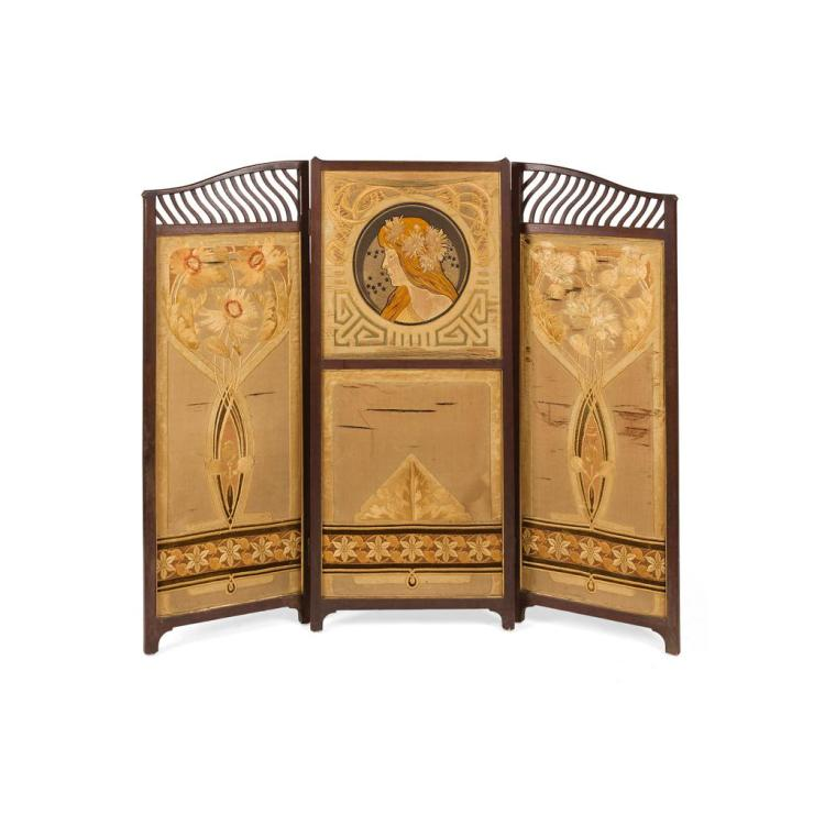 AFTER ALPHONSE MUCHA ART NOUVEAU MAHOGANY FRAMED THREE-FOLD DRAUGHT SCREEN, CIRCA 1900 176cm wide, 139cm high (at highest point)