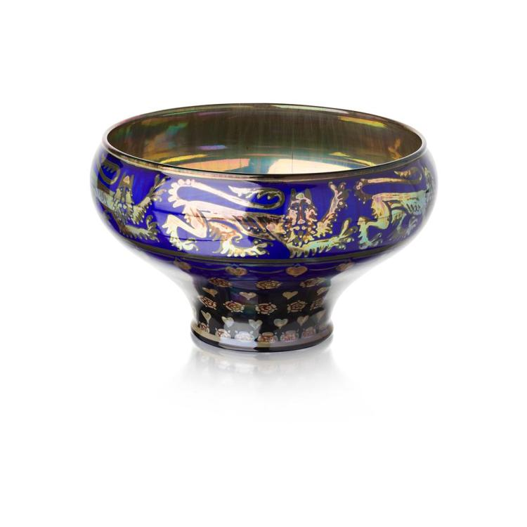 WALTER CRANE (1845-1915) FOR PILKINGTON''S ROYAL LANCASTRIAN LUSTRE BOWL, DATED 1932 13cm high, 19cm wide