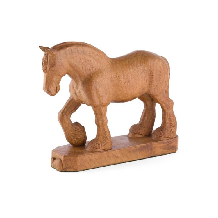 ROBERT (MOUSEMAN) THOMPSON (1876-1955) CARVED OAK SHIRE HORSE FIGURE, CIRCA 1940 22cm high, 27.5cm long