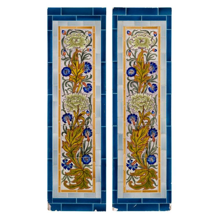 SHERWIN & COTTON PAIR OF ARTS & CRAFTS PAINTED TILE PANELS, CIRCA 1880 each tile 15.2cm square