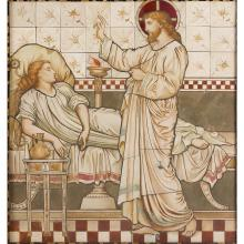 ATTRIBUTED TO SHRIGLEY & HUNT, LANCASTER AESTHETIC MOVEMENT TILED PANEL, CIRCA 1870 panel, 95cm x 103cm